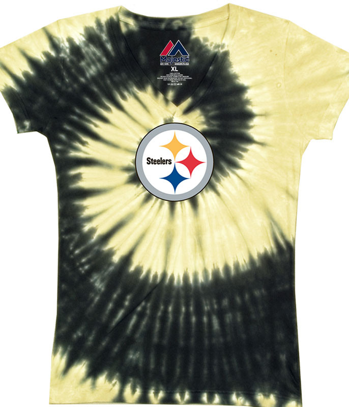 PITTSBURGH STEELERS JUNIORS V TIE-DYE LONG LENGTH T-SHIRT