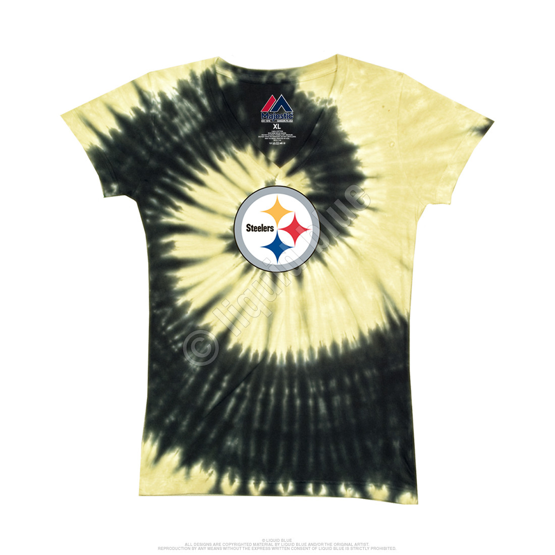 Pittsburgh Steelers Juniors Spiral V Tie-Dye Long Length T-Shirt