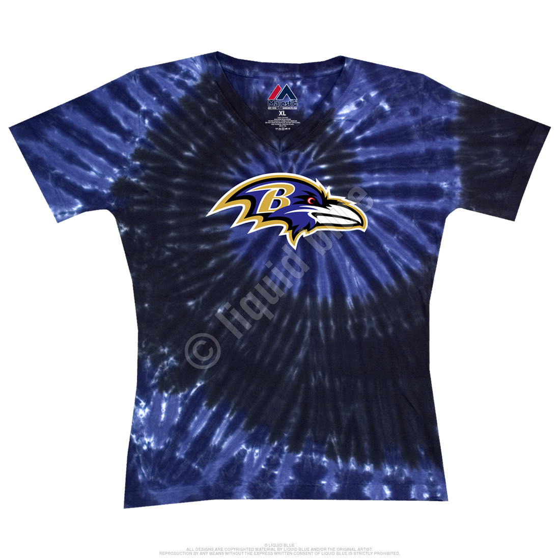 Baltimore Ravens Juniors Spiral V Tie-Dye Long Length T-Shirt