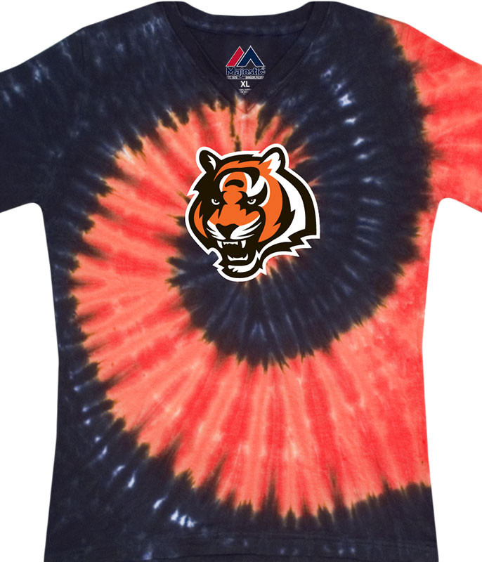 NFL Cincinnati Bengals Juniors Spiral V Tie-Dye Long Length T-Shirt Tee Liquid Blue