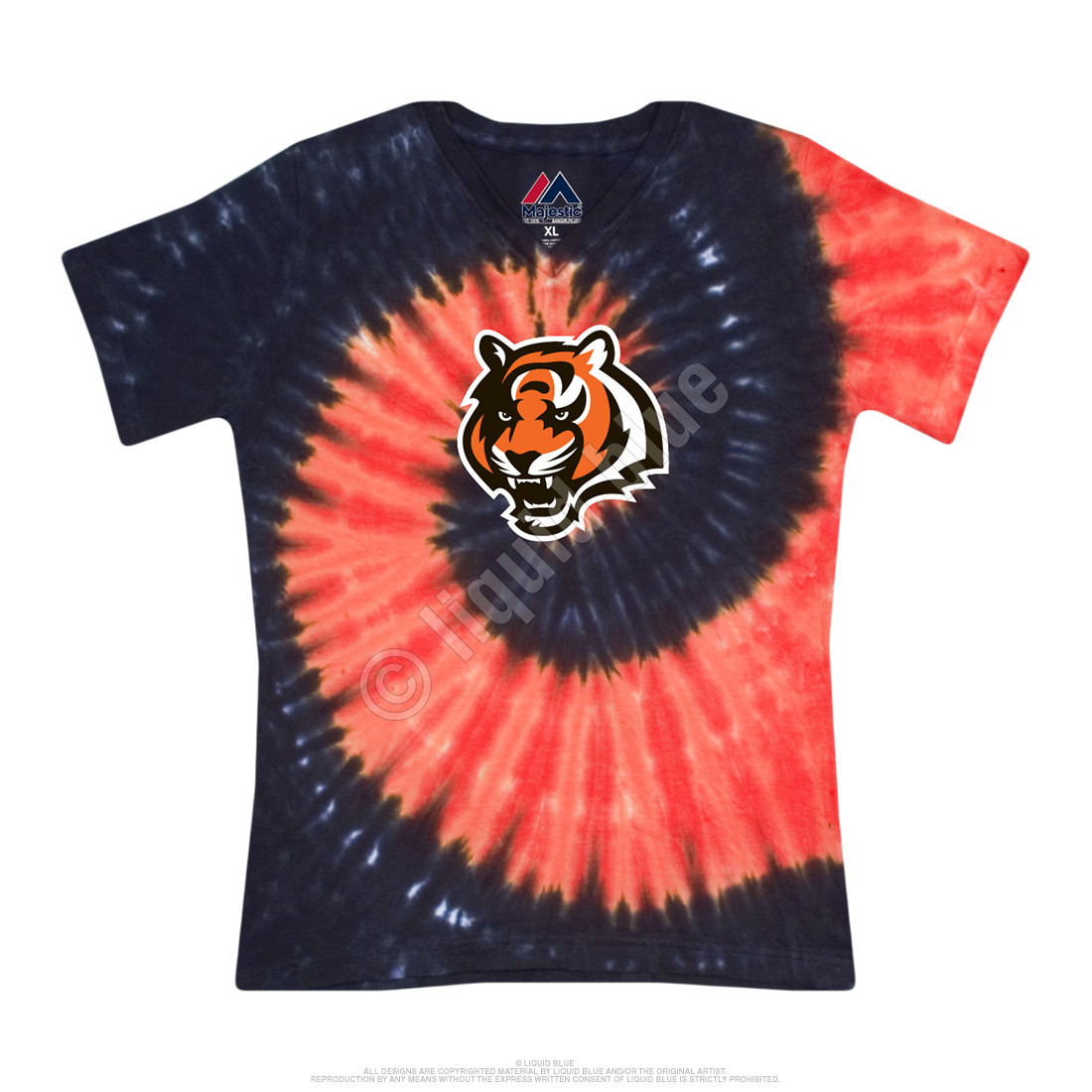 Cincinnati Bengals Juniors Spiral V Tie-Dye Long Length T-Shirt