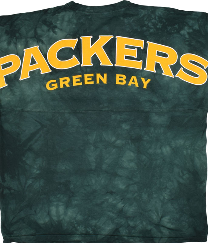 NFL Green Bay Packers Gridiron Tie-Dye Boyfriend Jersey Liquid Blue