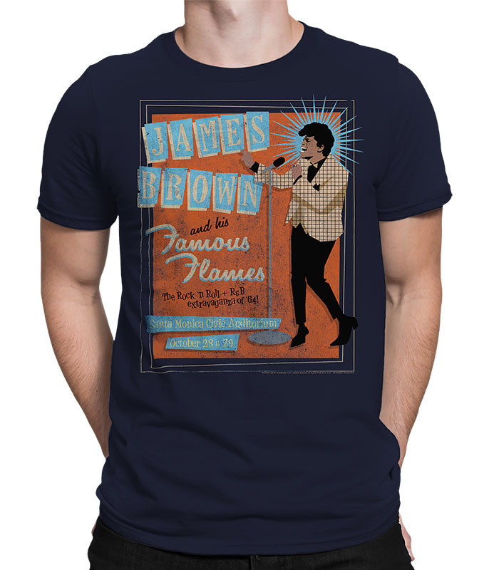 James Brown Famous Flames Navy Athletic T-Shirt Tee Liquid Blue