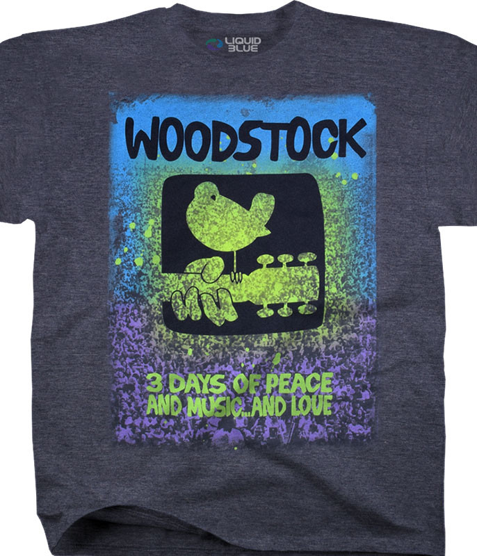 Woodstock Music & Love Dark Blue Heather Poly-Cotton T-Shirt Tee Liquid Blue