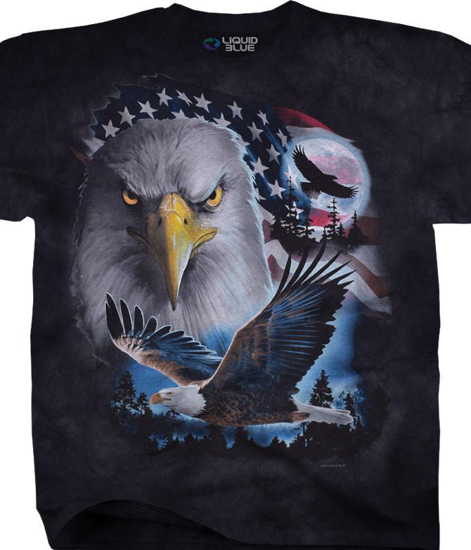 Americana Patriotic Pose Tie-Dye T-Shirt Tee Liquid Blue