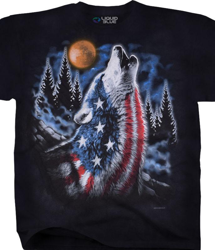 Americana American Howl Tie-Dye T-Shirt Tee Liquid Blue