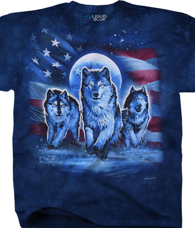 Americana Patriotic Wolf Pack Tie-Dye T-Shirt Tee Liquid Blue