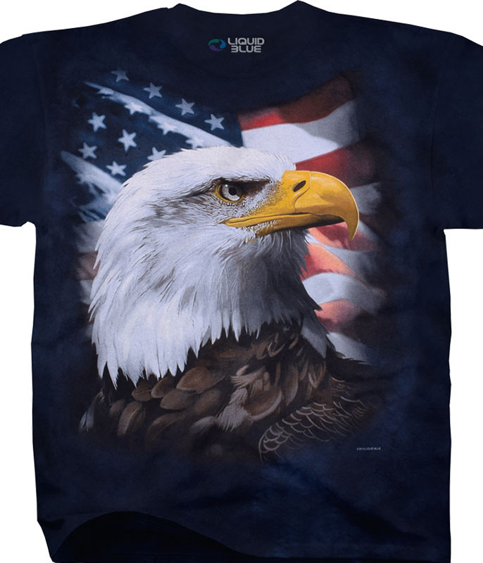 Americana American Bald Eagle Tie-Dye T-Shirt Tee Liquid Blue