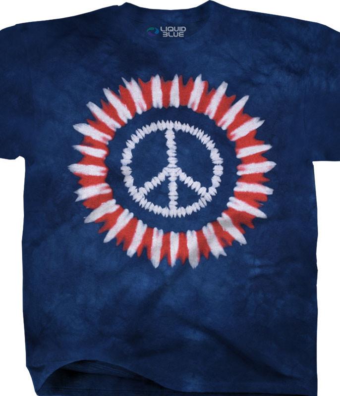 Americana Peace Concentric Tie-Dye T-Shirt Tee Liquid Blue