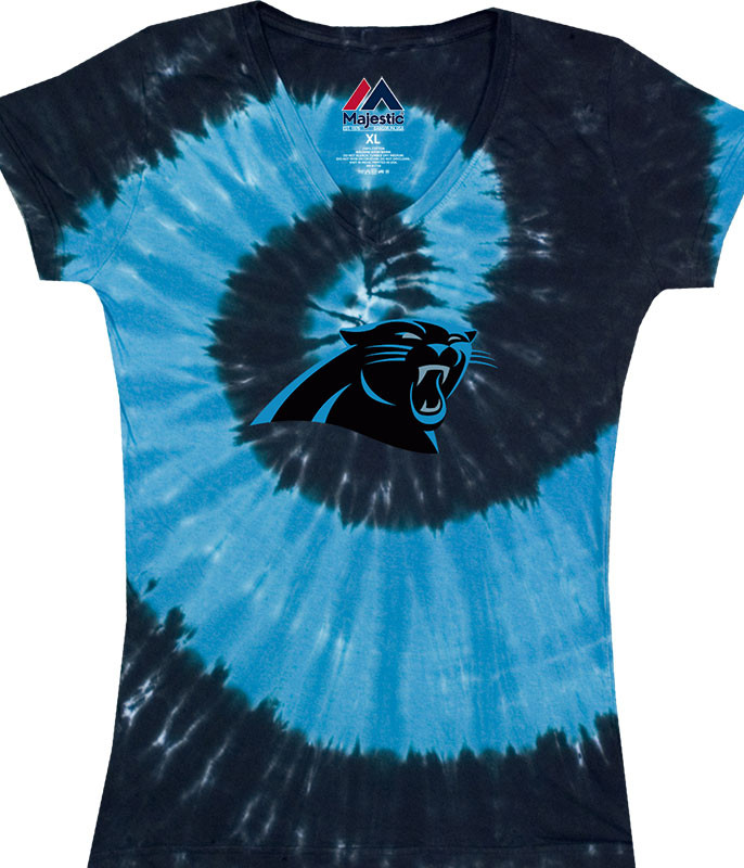 NFL Carolina Panthers Juniors Spiral V Tie-Dye Long Length T-Shirt Tee Liquid Blue