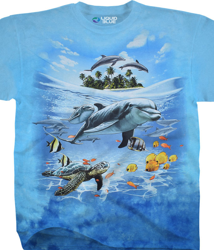 Aquatic Dolphin Domain Tie-Dye T-Shirt Tee Liquid Blue