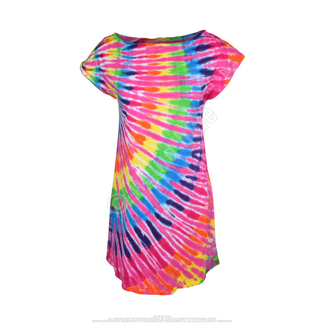 Rainbow Pink Streak Womens Unprinted Tie-Dye Sundress