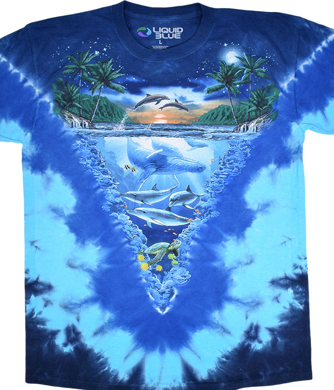 Aquatic Night Time Dive Tie-Dye T-Shirt Tee Liquid Blue