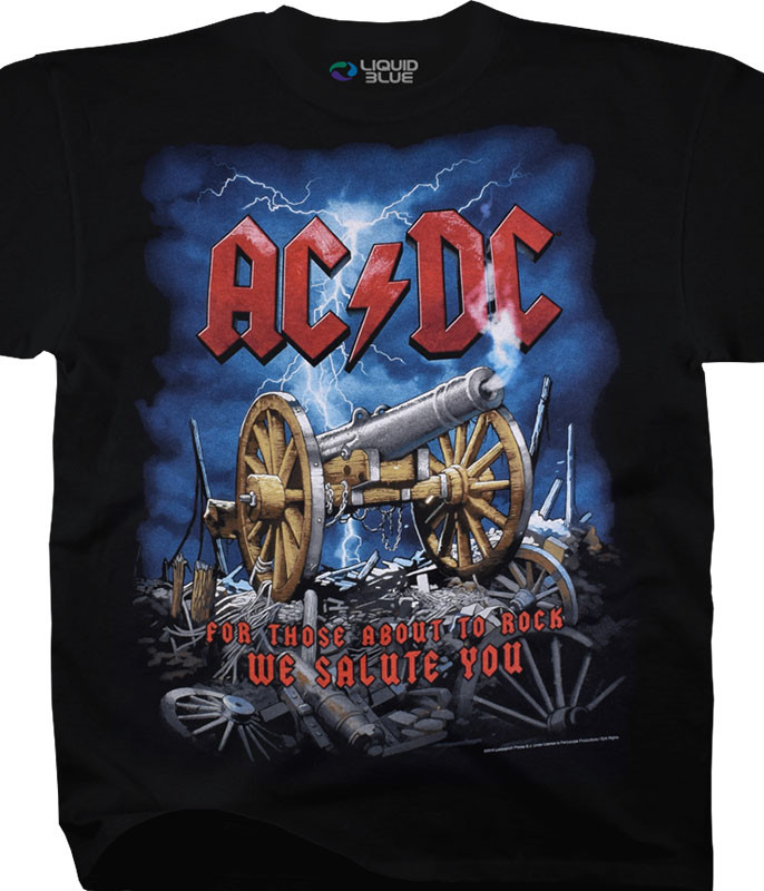 AC/DC Cannon Carnage Black T-Shirt Tee Liquid Blue