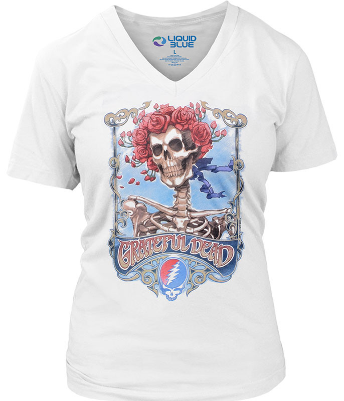 Grateful Dead  Bertha Live Womens White Long Length V-Neck T-Shirt