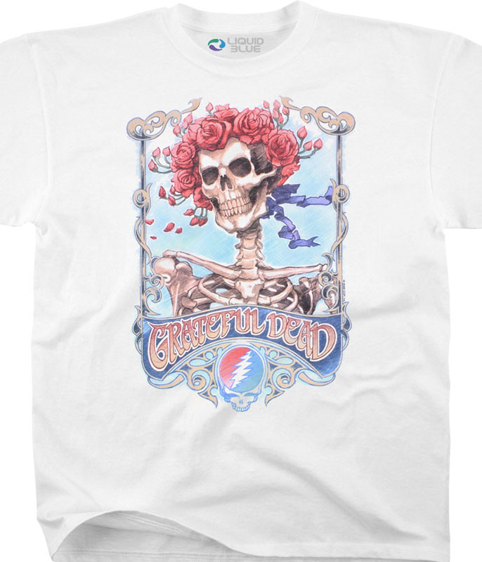 Grateful Dead Bertha Live White T-Shirt Tee Liquid Blue