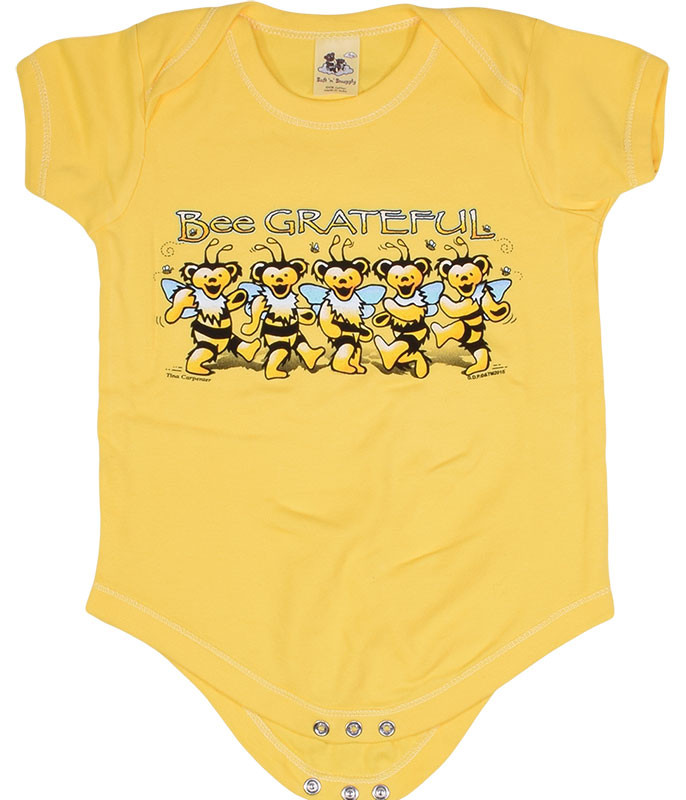 Grateful Dead GD Bee Grateful Yellow Onesie