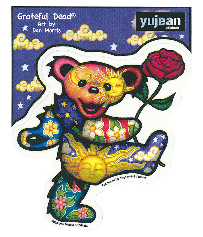 Grateful Dead Rose Bear Sticker Liquid Blue