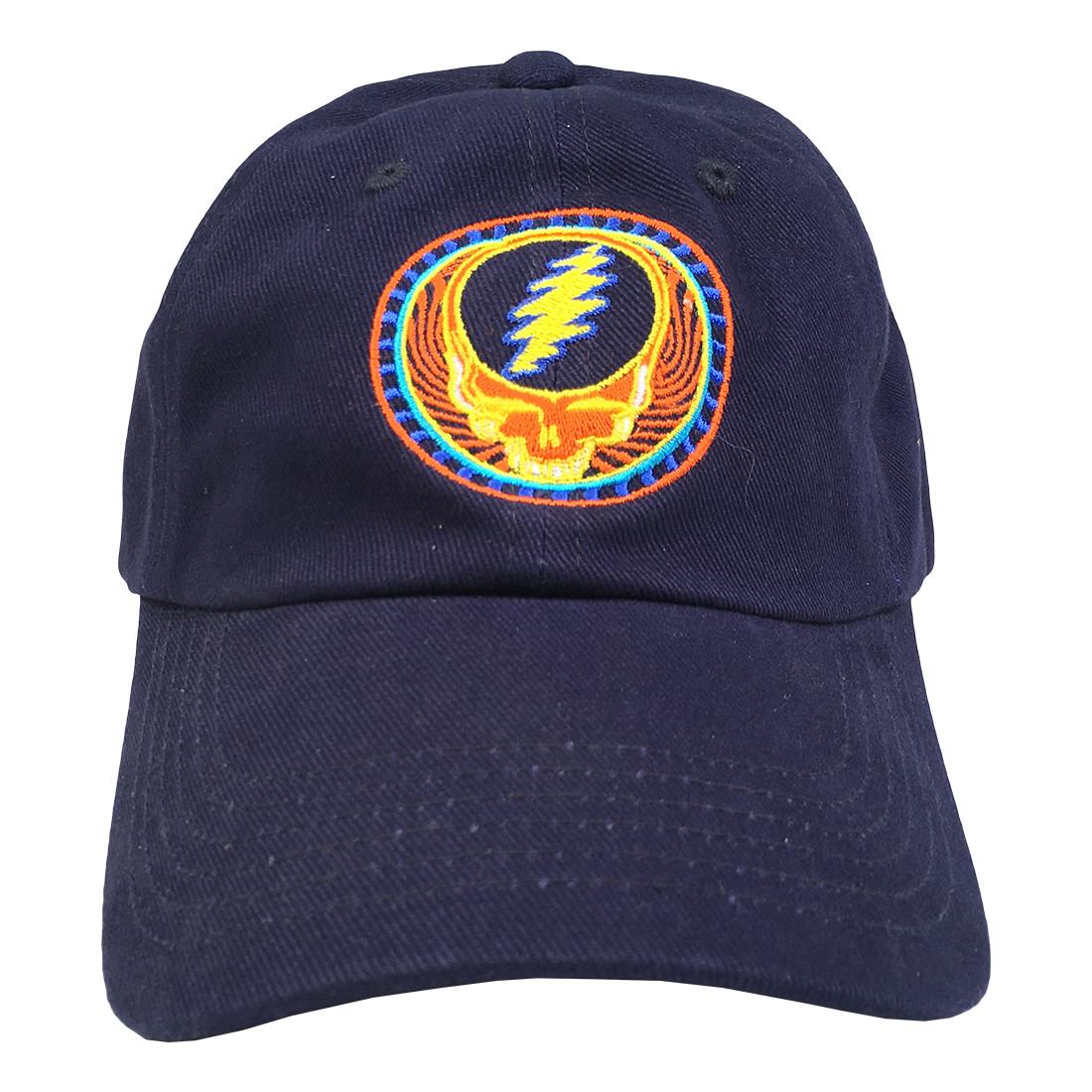 grateful dead gd orange navy baseball cap liquid blue
