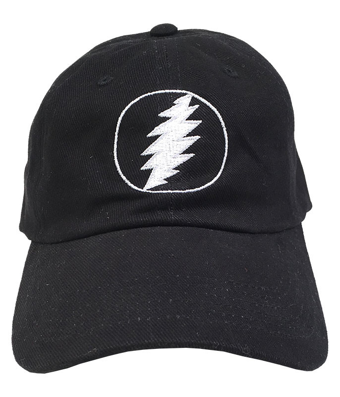 Grateful Dead GD Lightning Bolt Black Baseball Cap