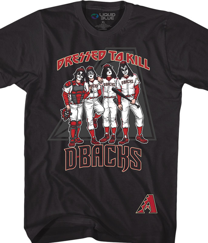 MLB Arizona Diamondbacks KISS Dressed to Kill Black T-Shirt Tee Liquid Blue
