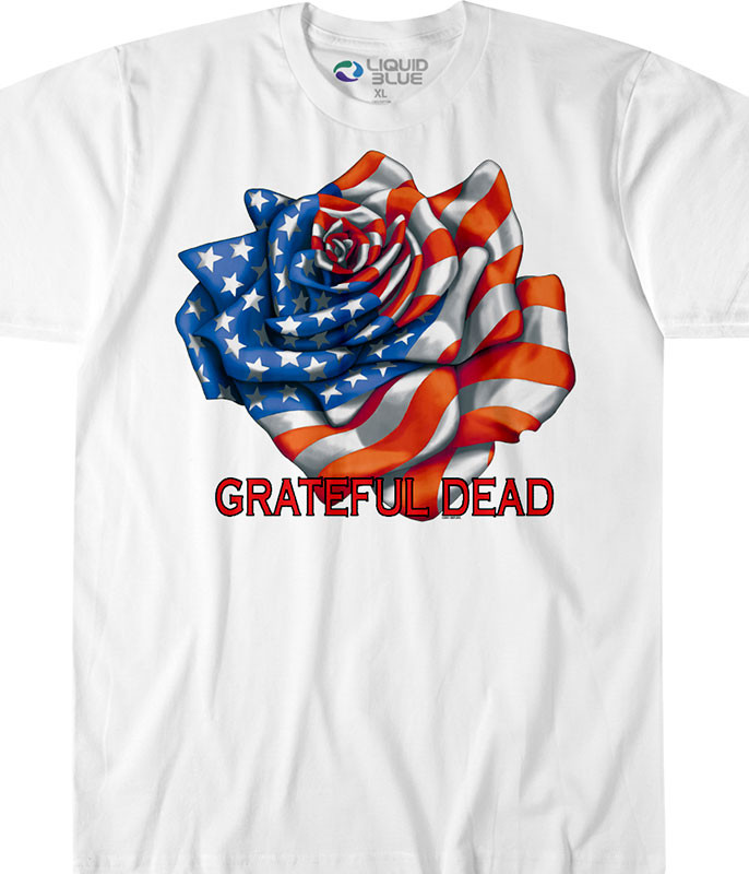 Grateful Dead Rose Flag Custom T-Shirt Tee Liquid Blue
