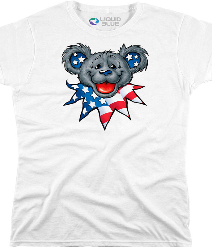 Grateful Dead Patriot Bear Head Custom Womens Long Length T-Shirt Tee Liquid Blue