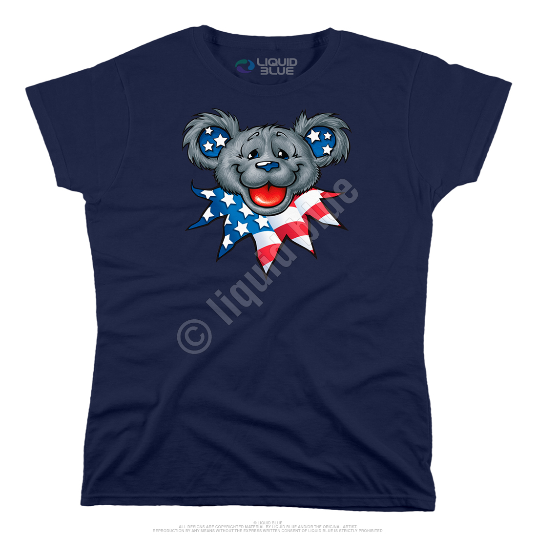 Patriot Bear Head Custom Womens T-Shirt