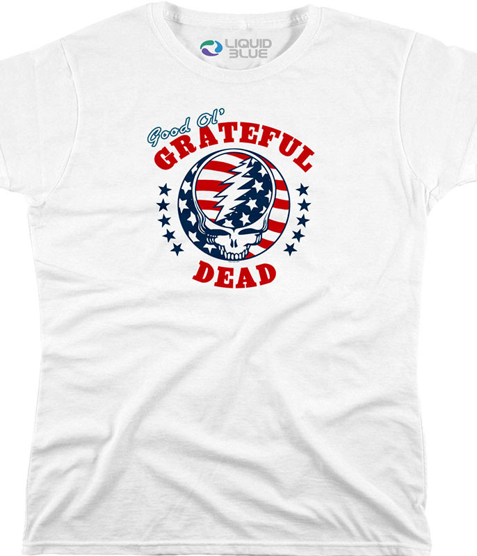 Grateful Dead SYF Independence Custom Womens Long Length T-Shirt Tee Liquid Blue