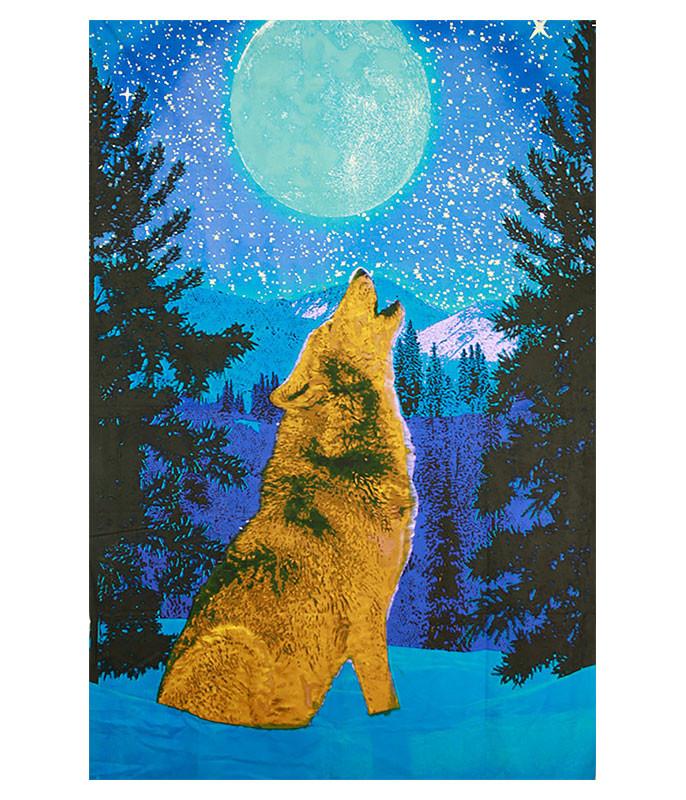 Dark Wolf Glow 3D Tapestry