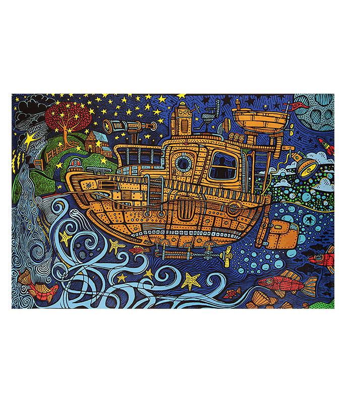 Steampunk Tugboat 3D Tapestry