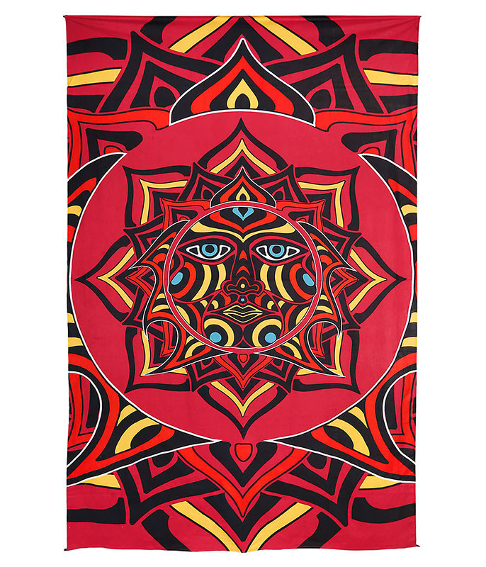 Red Sun Face 3D Tapestry