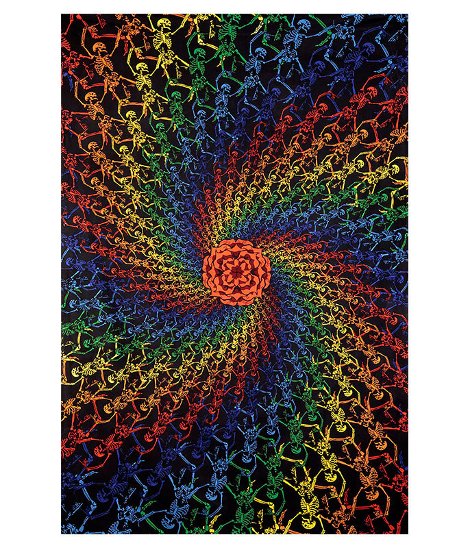 Grateful Dead GD Spiral Skeletons 3D Tapestry