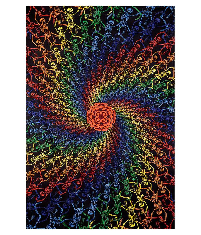Grateful Dead GD Spiral Skeletons 3D Tapestry