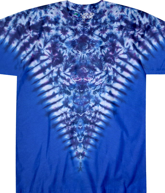 Blue Krinkle V Unprinted Tie-Dye T-Shirt Tee Liquid Blue