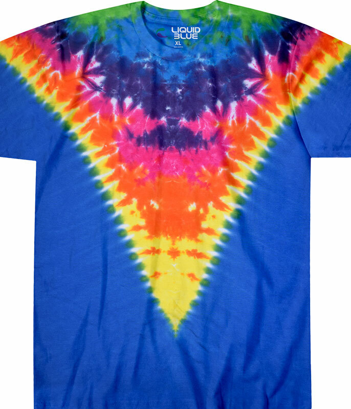 Rainbow Krinkle V Unprinted Tie-Dye T-Shirt Tee Liquid Blue