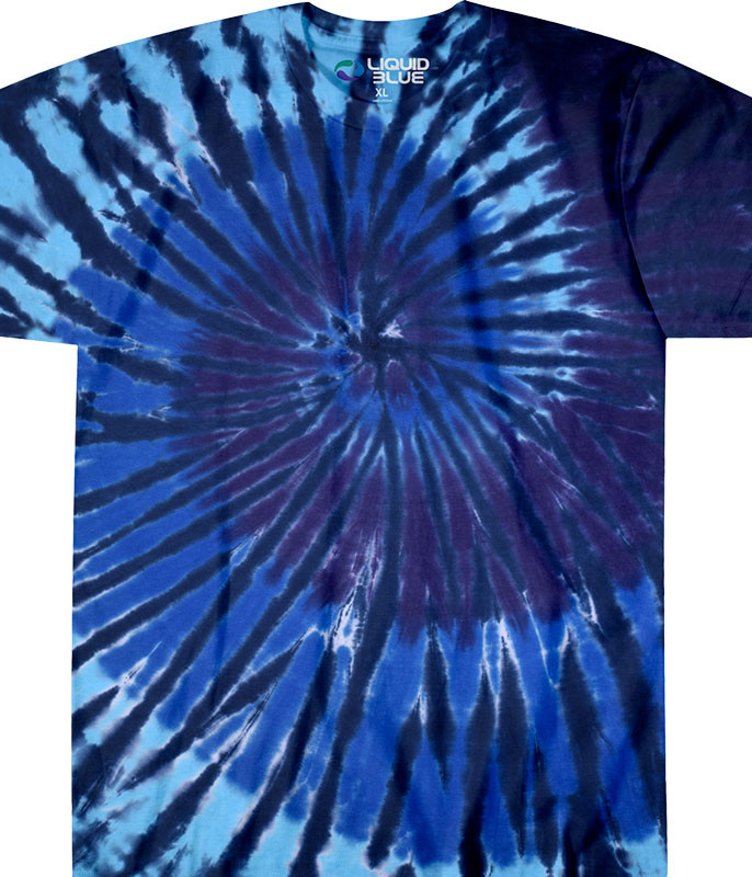Blue Spiral Streak Unprinted Tie-Dye T-Shirt Tee Liquid Blue