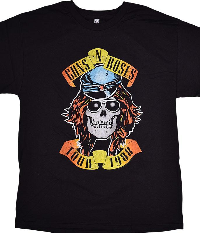 Guns N Roses GNR Appetite 1988 Tour Black T-Shirt Tee
