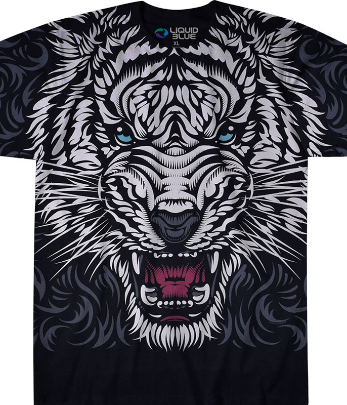 Exotic Wildlife White Tiger Stare Black T-Shirt Tee Liquid Blue