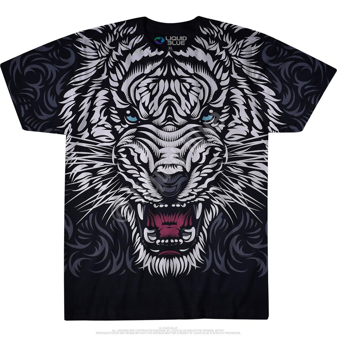 White Tiger Stare Black T-Shirt