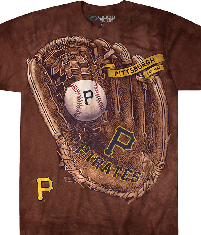 MLB Pittsburgh Pirates Glove Tie-Dye T-Shirt Tee Liquid Blue