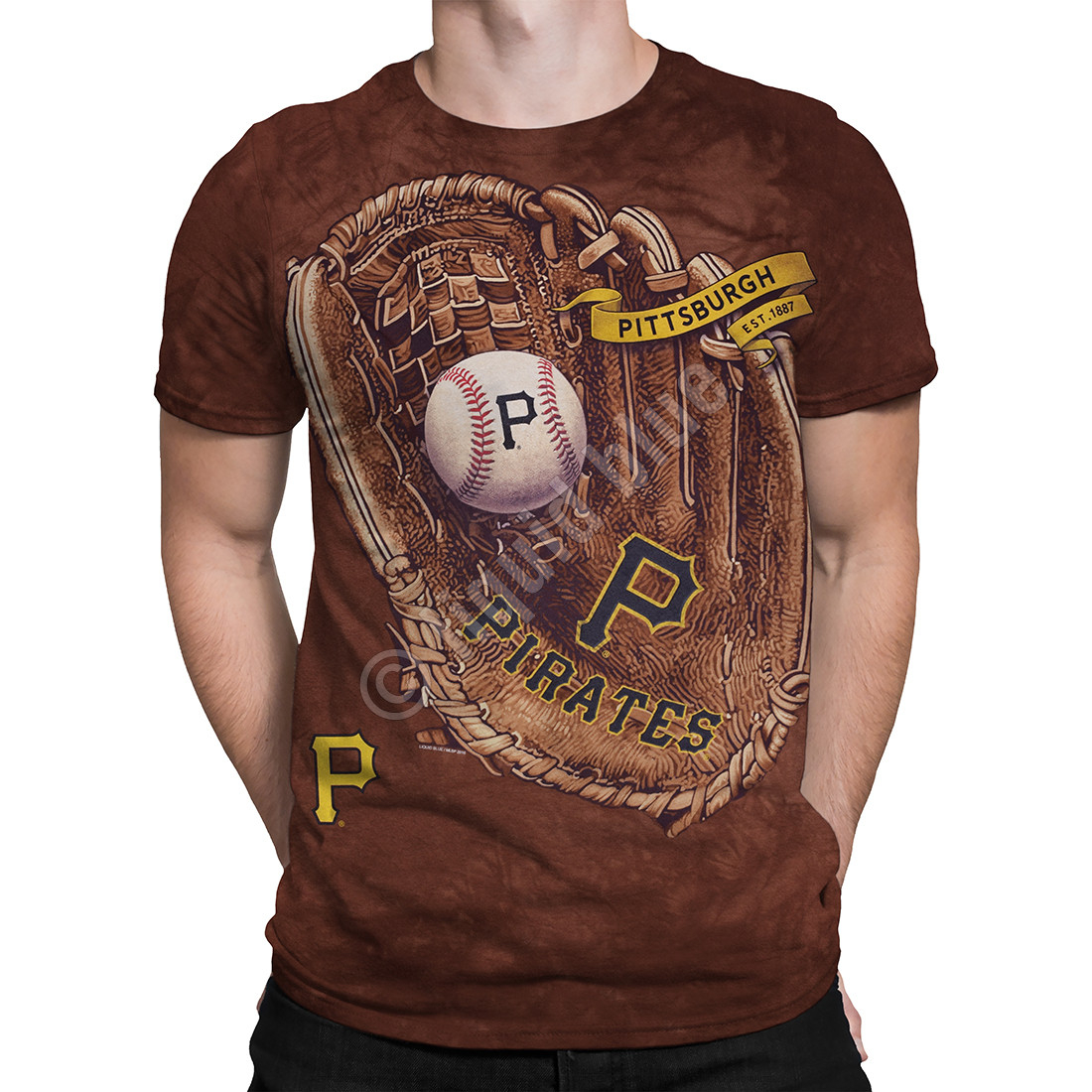 Pittsburgh Pirates Glove Tie-Dye T-Shirt