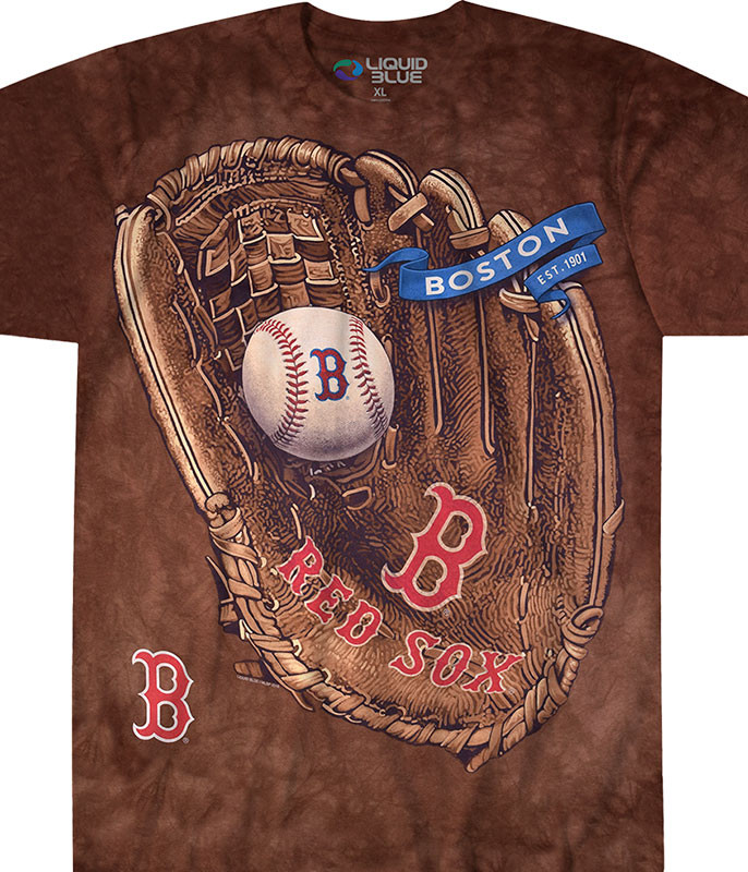 MLB Boston Red Sox Glove Tie-Dye T-Shirt Tee Liquid Blue