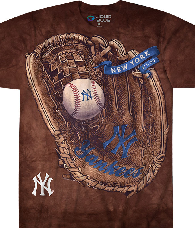 MLB New York Yankees Glove Tie-Dye T-Shirt Tee Liquid Blue