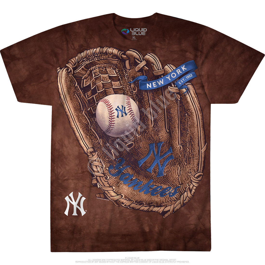 New York Yankees Glove Tie-Dye T-Shirt