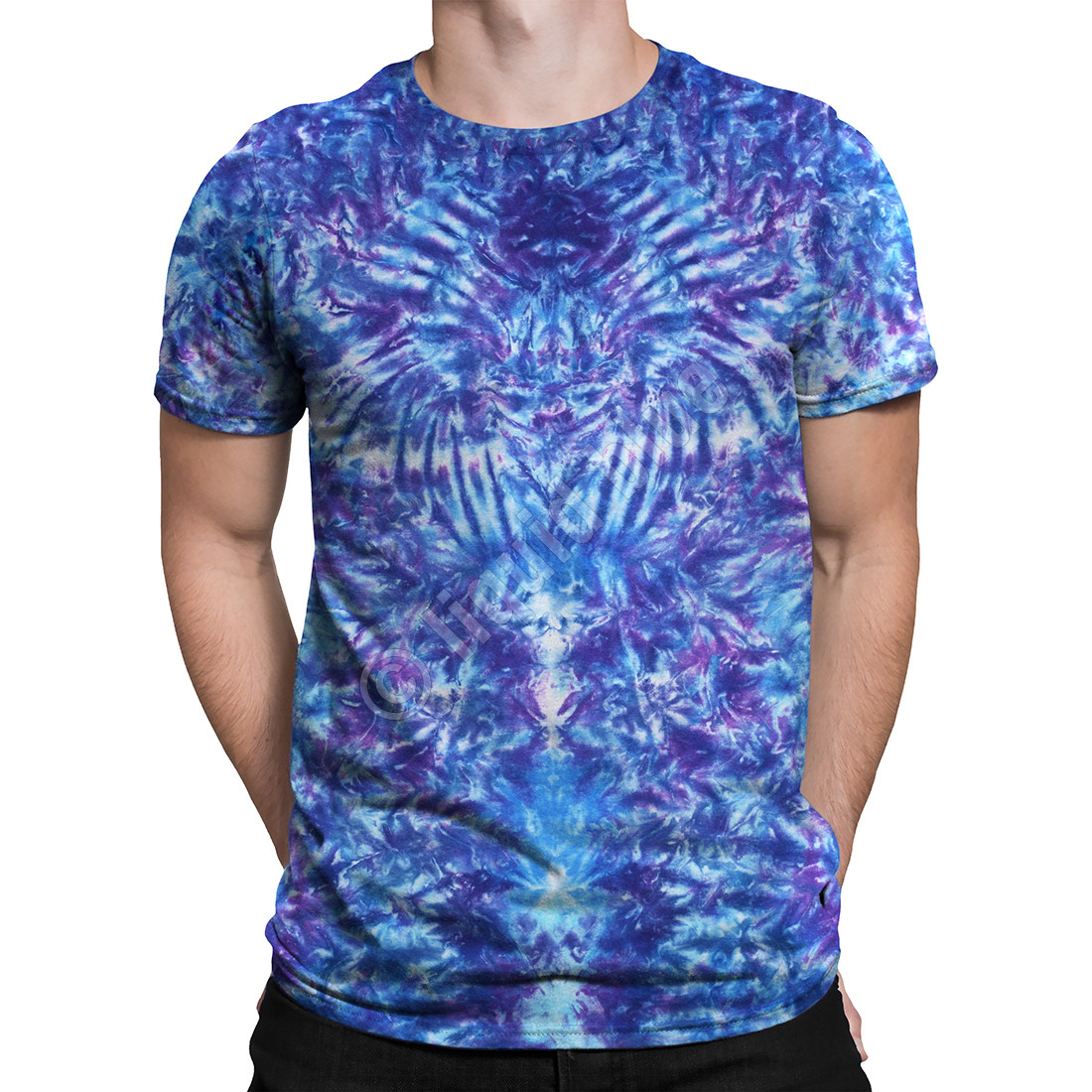 Crazy Blue Krinkle Unprinted Tie-Dye T-Shirt