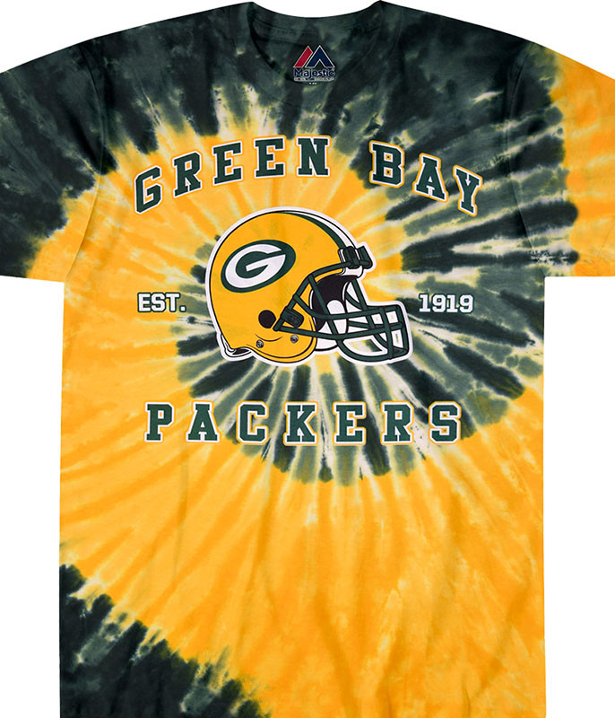 NFL Green Bay Packers Spiral Tie-Dye T-Shirt Tee Liquid Blue