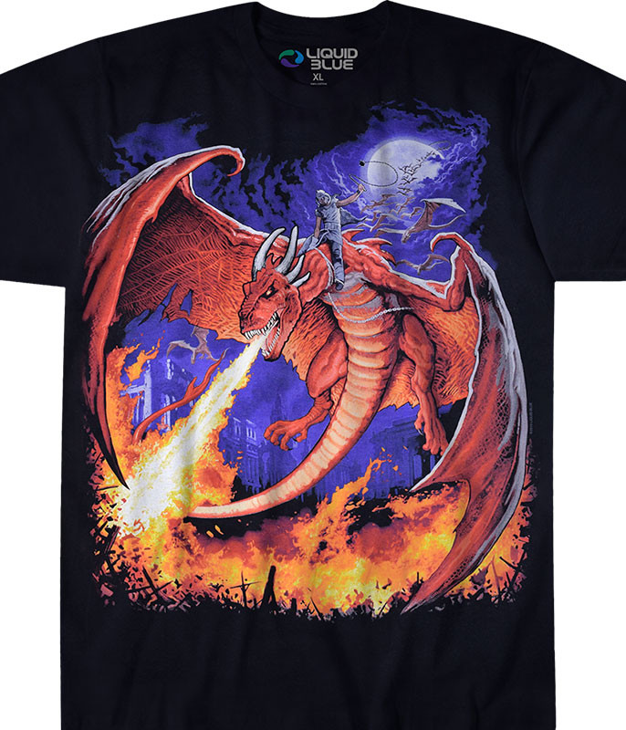 Dark Fantasy Dragon Fire Black T-Shirt Tee Liquid Blue