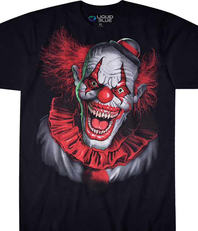 Dark Fantasy Scary Clown Black T-Shirt Tee Liquid Blue