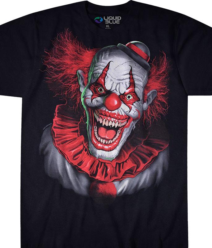 Dark Fantasy Scary Clown Black T-Shirt Tee Liquid Blue